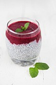 Chia seed pudding with fruit and fresh mint
