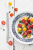 Red and yellow cherry tomatoes with basil on a plate
