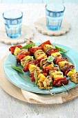 Chicken skewers with pineapple and peppers