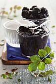 A glass of homemade blackberry jam