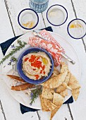 Taramasalata with pita bread and salmon caviar