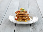Corn fritters with chilli sauce