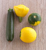 Various courgettes and a patty pan squash