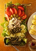 Summer tuna fish salad with vegetables