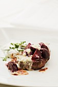 Venison escalope with Gorgonzola and cooked beetroot