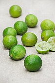Fresh limes on a tablecloth