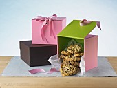 Oatmeal and raisin cookies in gift boxes