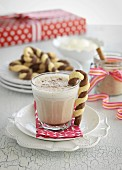 Caffe latte and candy cane biscuits