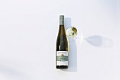 A bottle and a glass of Riesling from Weingut Gies-Düppel in the Palatinate