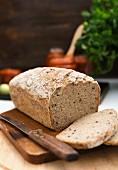 Gluten-free, vegan sourdough bread, sliced