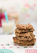A stack of vegan oat biscuits