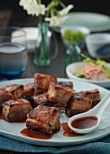 Crispy diced pork belly with teriyaki sauce (Asia)
