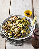 Grilled aubergine and courgette salad with feta cheese and chilies