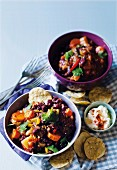 Vegetable chilli with nachos and sour cream