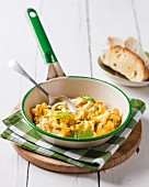 Scrambled eggs with sweetcorn in a small pan