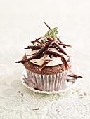 A peppermint chocolate cupcake