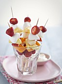 Fruit skewers with marshmallows