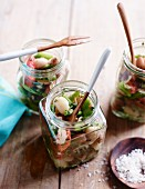 Mediterranean bean salad in glass jars