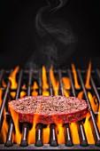Hamburger Patty mit Salz und Pfeffer auf dem flammenden Grill