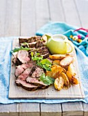 Roast beef with roast potatoes