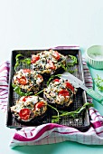 Stuffed mushrooms with spinach, tomatoes and feta cheese