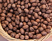 Unshelled pecan nuts in a basket