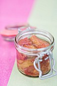 A jar of rhubarb compote