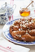 Challah with flaked almonds and honey