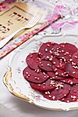 Beetroot carpaccio with garlic for Passover