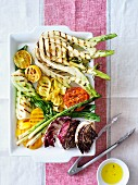 Grilled vegetables with lemons and olive oil