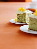 Poppy seed cake with cream cheese and oranges