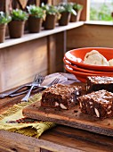 South American brownies on a wooden board