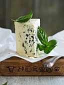 Roquefort cheese and basil