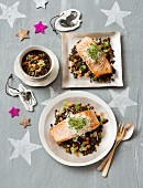 Salmon fillets on a lentil medley for Christmas
