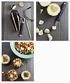 Mit Pilaw gefüllte Aubergine zubereiten