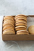 Cinnamon sandwich biscuits in a box