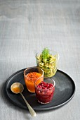 Pomegranate chutney, vegetable avocado salsa and sweet chilli cream