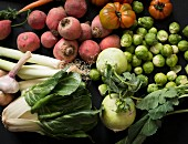 A large arrangement of vegetables