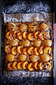 Pear and apricot tart with chopped nuts