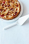 Pear cake with almonds and cranberries