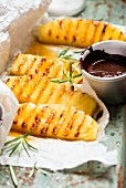 Grilled pineapple with chocolate sauce