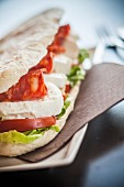 A sandwich with tomato, mozzarella and spicy salami