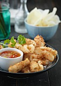 Breaded, fried squid