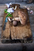 Fresh wild mushrooms and garlic on a rustic wooden chopping board