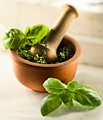 Basil pesto in a mortar