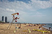 A lifeguard observing the beach at Barcelona