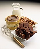 Baking ingredients: butter, chocolate, milk and nuts