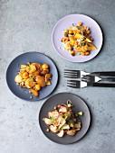 Three types of vegetarian fried potatoes