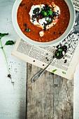 Tomato soup with black lentils