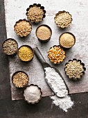 An arrangement of various grains and flour